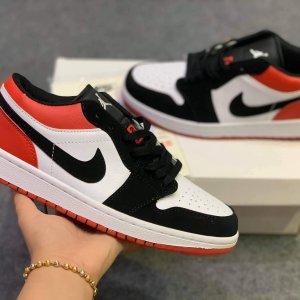 Giày Nike Air Jordan 1 Low Black Toe đỏ đen