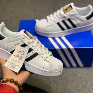 Giày Superstar trắng sọc đen rep 11